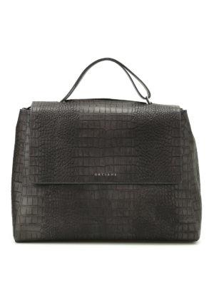Orciani: shoulder bags - Sveva croco print leather bag