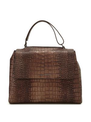 Orciani: shoulder bags - Sveva M croco print leather bag