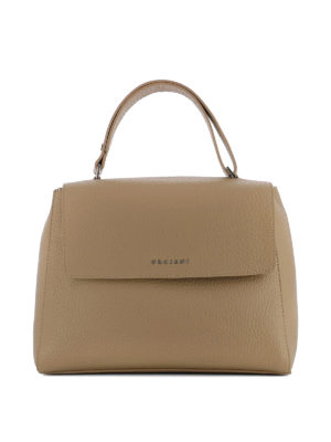 Orciani: shoulder bags - Sveva Soft M cappuccino leather bag