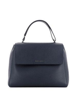 Orciani: shoulder bags - Sveva Soft M navy leather bag