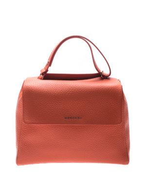 Orciani: shoulder bags - Sveva Soft M orange leather bag