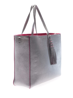 Orciani: totes bags online - Silver tote with fuchsia piping