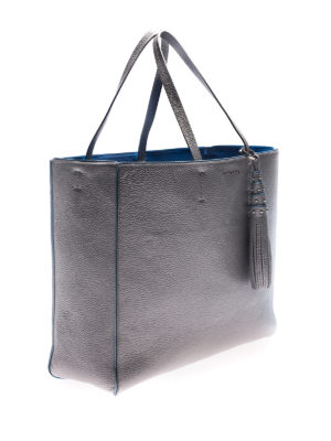 Orciani: totes bags online - Silver tote with light blue piping