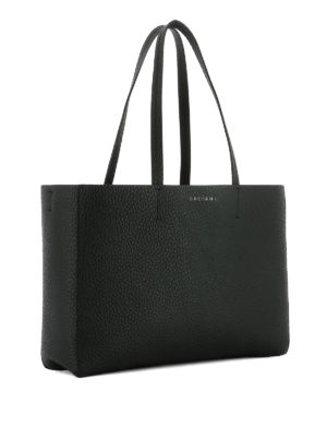 Orciani: totes bags online - Soft black leather E/W tote bag