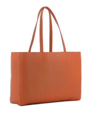 Orciani: totes bags online - Soft orange leather E/W tote bag