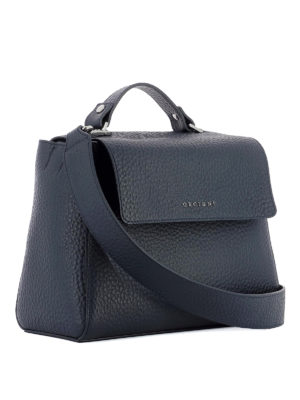 Orciani: totes bags online - Sveva Soft navy leather bag