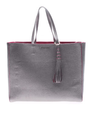 Orciani: totes bags - Silver tote with fuchsia piping