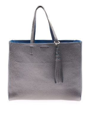 Orciani: totes bags - Silver tote with light blue piping