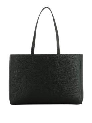 Orciani: totes bags - Soft black leather E/W tote bag