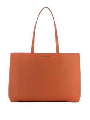 Orciani: totes bags - Soft orange leather E/W tote bag