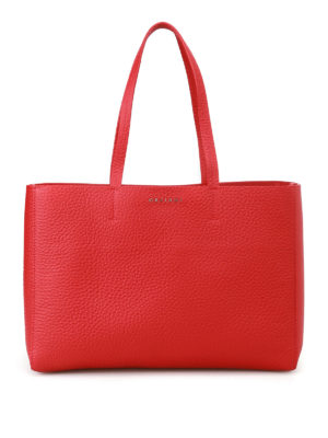 Orciani: totes bags - Soft red leather E/W tote bag