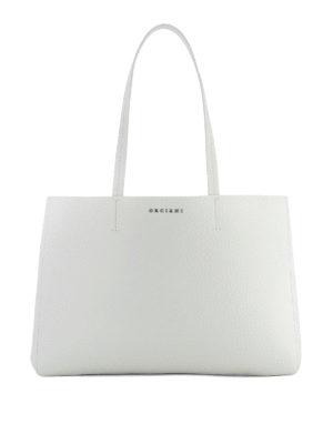Orciani: totes bags - Soft white leather E/W tote bag
