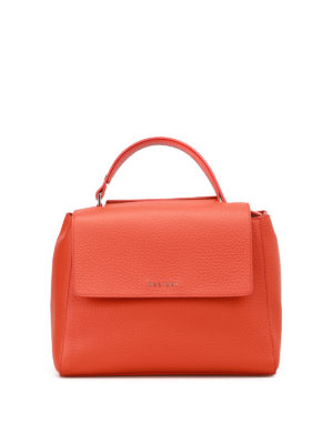 Orciani: totes bags - Sveva Soft arancio leather bag