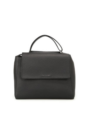 Orciani: totes bags - Sveva Soft black leather bag