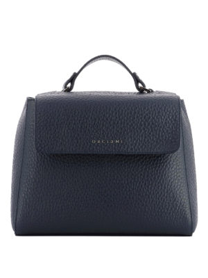 Orciani: totes bags - Sveva Soft navy leather bag