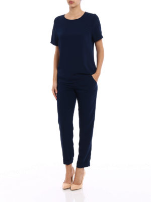 P.A.R.O.S.H.: blouses online - Pantery navy blue cady blouse