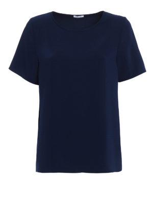 P.A.R.O.S.H.: blouses - Pantery navy blue cady blouse