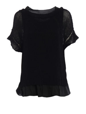 P.A.R.O.S.H.: boat necks - Betty linen blend black sweater