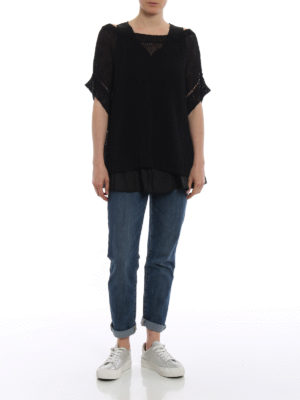 P.A.R.O.S.H.: boat necks online - Betty linen blend black sweater