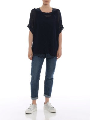 P.A.R.O.S.H.: boat necks online - Betty linen blend blue sweater