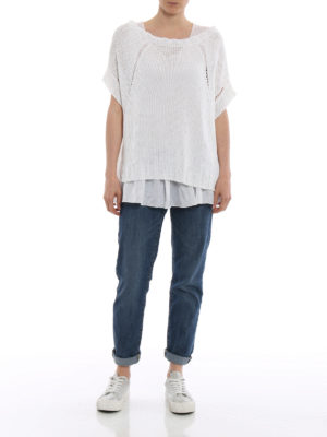 P.A.R.O.S.H.: boat necks online - Betty linen blend white sweater