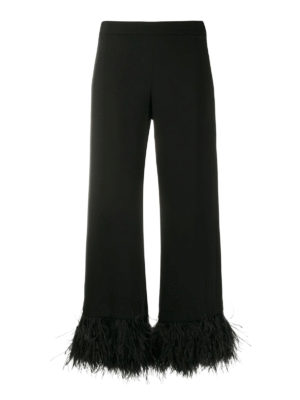 P.A.R.O.S.H.: casual trousers - Feather trimmed cropped trousers