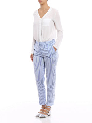 P.A.R.O.S.H.: casual trousers online - Chopin light twill striped trousers