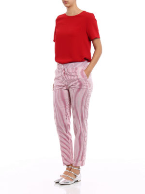 P.A.R.O.S.H.: casual trousers online - Chopin striped light twill trousers