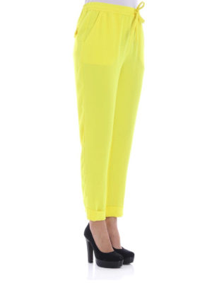 P.A.R.O.S.H.: casual trousers online - Pantery yellow cady casual trousers