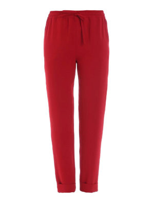 P.A.R.O.S.H.: casual trousers - Pantery red cady casual trousers