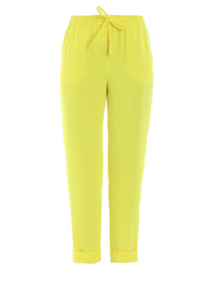 P.A.R.O.S.H.: casual trousers - Pantery yellow cady casual trousers