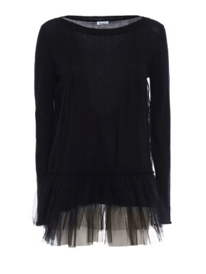 P.A.R.O.S.H.: crew necks - Creamy tulle and cotton sweater