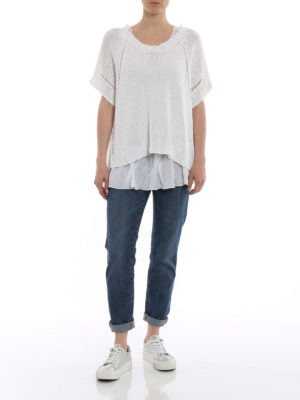 P.A.R.O.S.H.: crew necks online - Betty white linen blend sweater