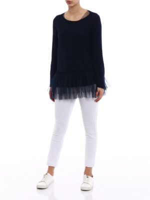 P.A.R.O.S.H.: crew necks online - Creamy cotton and tulle sweater