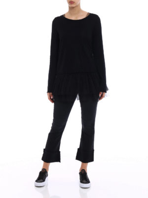 P.A.R.O.S.H.: crew necks online - Creamy tulle and cotton sweater