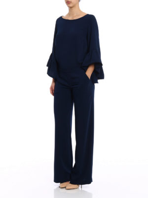 P.A.R.O.S.H.: jumpsuits online - Pantery navy cady jumpsuit