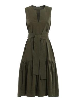 P.A.R.O.S.H.: knee length dresses - Belted cotton dress