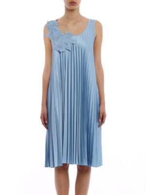 P.A.R.O.S.H.: knee length dresses online - Macrame insert Pianox pleated dress