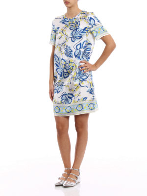 P.A.R.O.S.H.: knee length dresses online - Siflor printed silk tunic dress