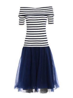 P.A.R.O.S.H.: knee length dresses - Romantic striped combo dress