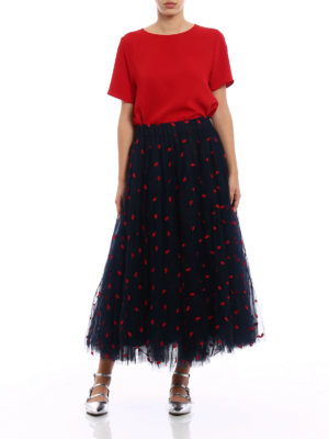 P.A.R.O.S.H.: Long skirts online - Palabra embroidered tulle skirt