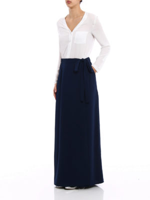P.A.R.O.S.H.: Long skirts online - Pantery dark blue wrap long skirt