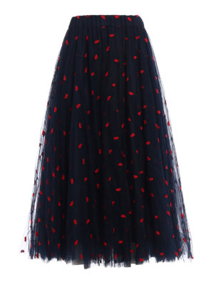 P.A.R.O.S.H.: Long skirts - Palabra embroidered tulle skirt