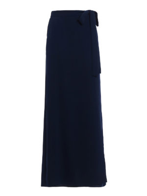 P.A.R.O.S.H.: Long skirts - Pantery dark blue wrap long skirt