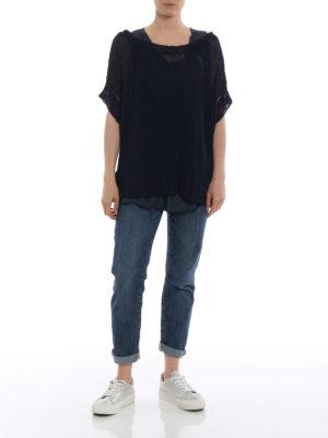 P.A.R.O.S.H.: maglia collo a barchetta online - Maglia in misto lino blu Betty