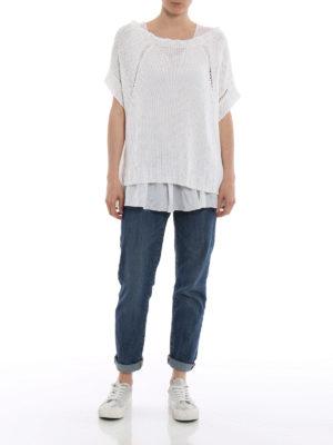 P.A.R.O.S.H.: maglia collo a barchetta online - Maglia bianca in misto lino Betty