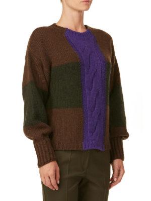 P.A.R.O.S.H.: maglia collo rotondo online - Pullover Lonia in alpaca a blocchi di colore
