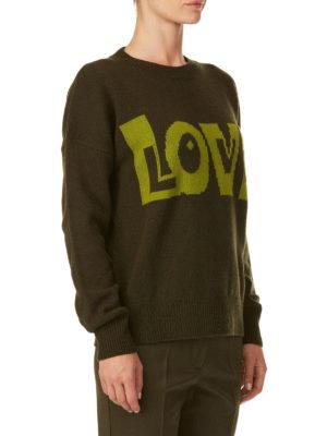 P.A.R.O.S.H.: maglia collo rotondo online - Girocollo verde Lovingly in lana e cashmere
