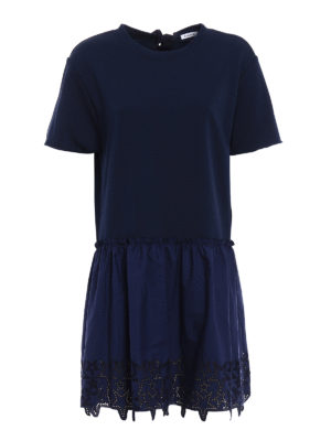 P.A.R.O.S.H.: short dresses - Embroidered cotton loose blue dress
