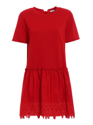 P.A.R.O.S.H.: short dresses - Embroidered cotton loose red dress
